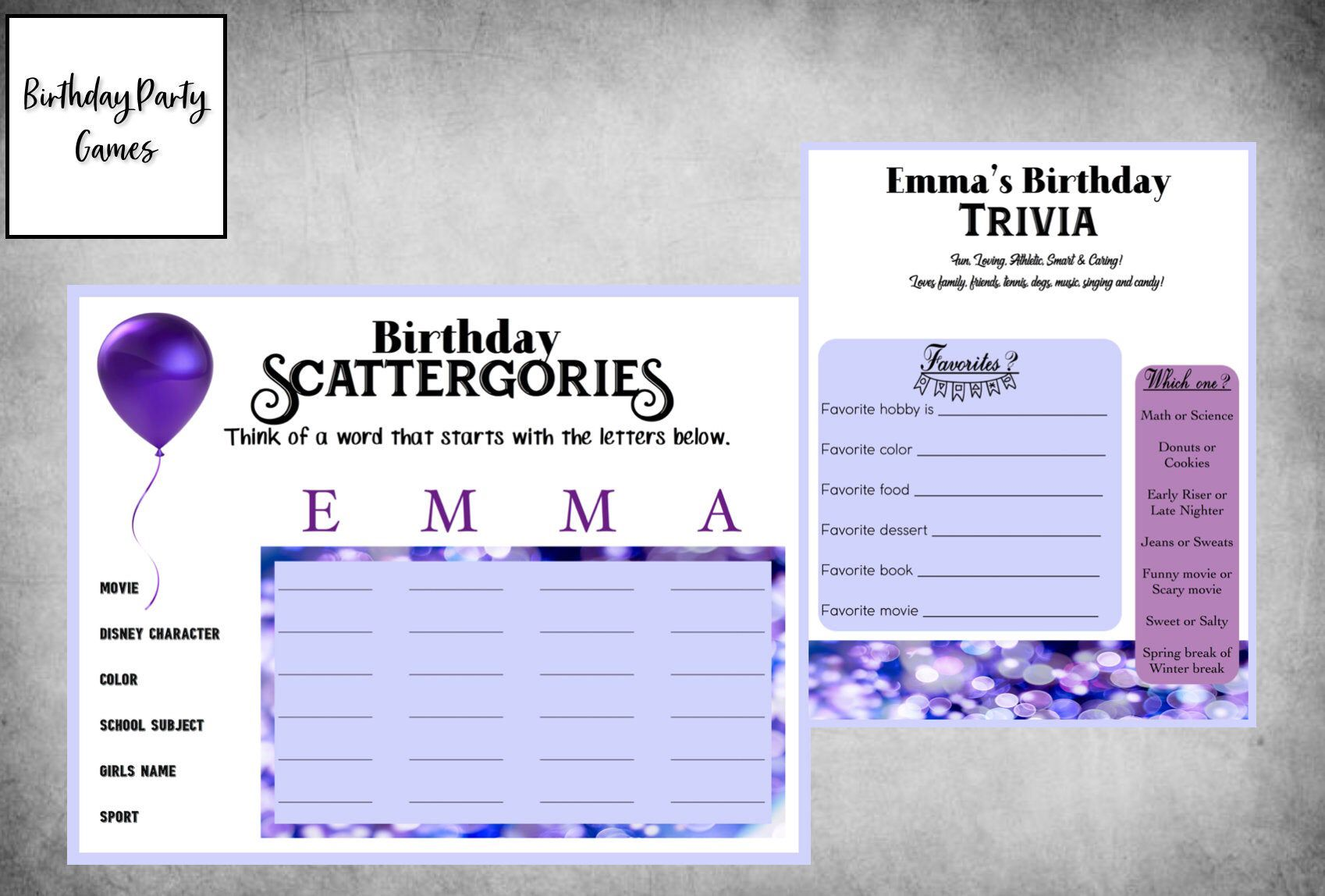Birthday Party Game Pack 2 Games Scattergories Birthday Etsy In 2021 Birthday Party Games Birthday Games Scattergories