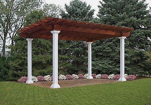 National Metal Industries 10x14 Artisan Wood Pergola With Mahogany Stain Wood Pergola Pergola Pergola On The Roof