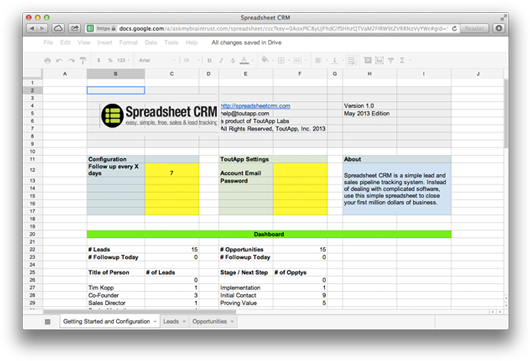 spreadsheet crm easy simple free sales lead tracking apps