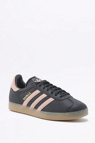 adidas black leather gazelle trainers
