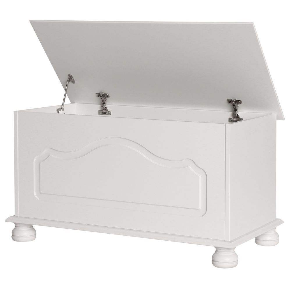 Blanket Box Wooden Toy Bedding Sheet Storage Chest Cabinet Trank Ottoman White