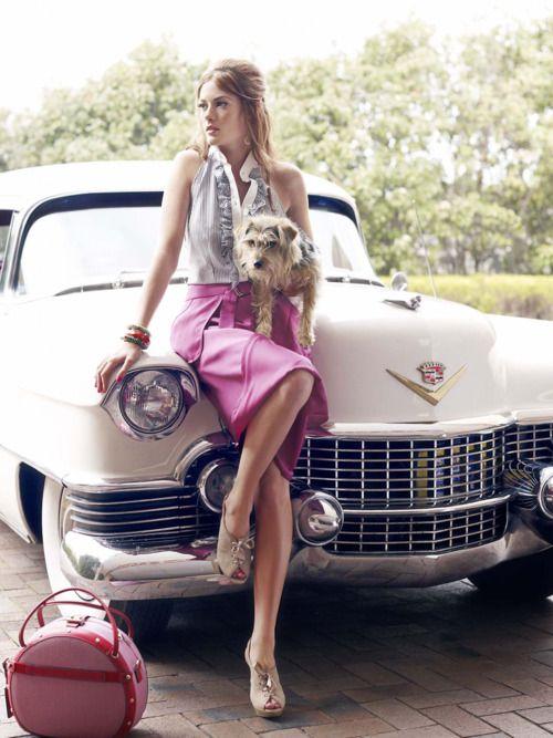 pink skirt, ruffle shirt, & tan peep toes.
