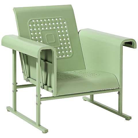 Veranda Oasis Green Retro Outdoor Single Chair Glider 7k145 Www Lampsplus Com Glider Chair Patio Rocking Chairs Furniture