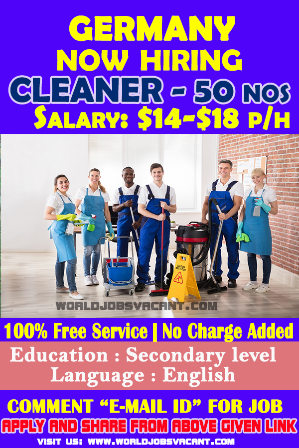 Cleaner Wanted In Germany 2019 Work Opportunities Job