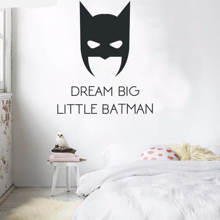 Cool Little Hero Mask Wall Sticker Batman Super Hero Mask Kid Bedroom Decals