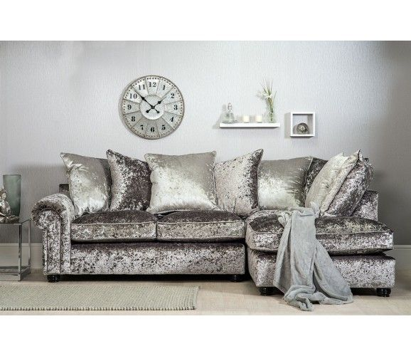 Amazing Marilyn Crushed Velvet Corner Sofa   Silver (Grey)   Right Hand Facing