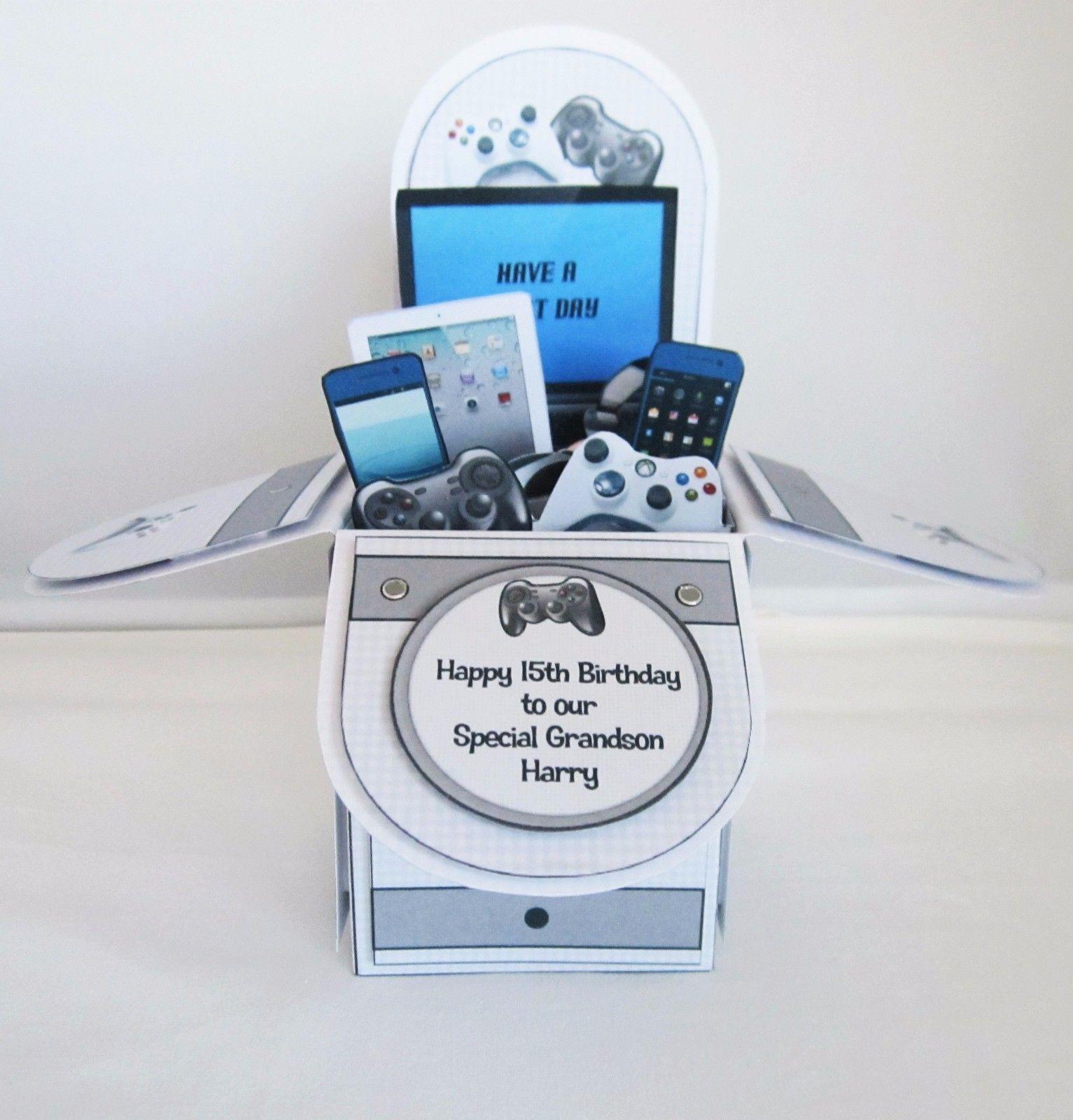 Handmade personalised pop up box birthday card grandson godson