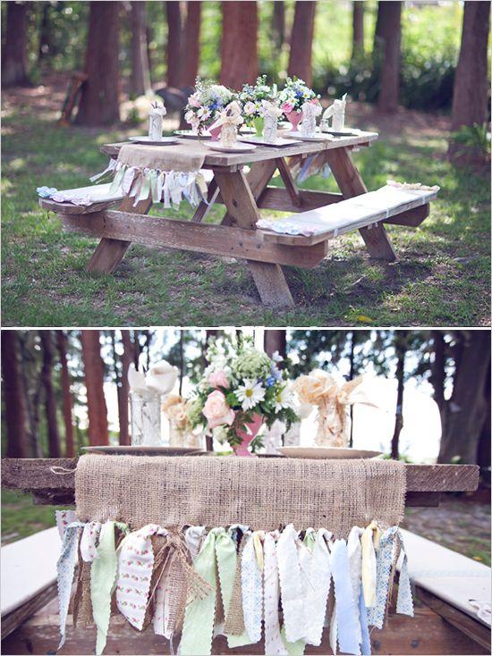 Rustic Wedding Reception Ideas Picnic Table Bench