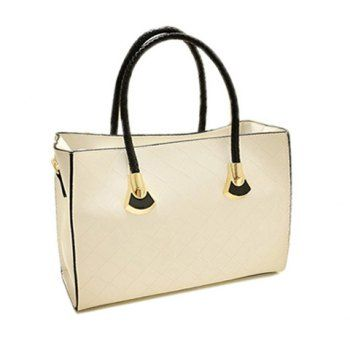 be8298fcce2 British Style Solid Color and Checked Design Tote Bag For Women ...