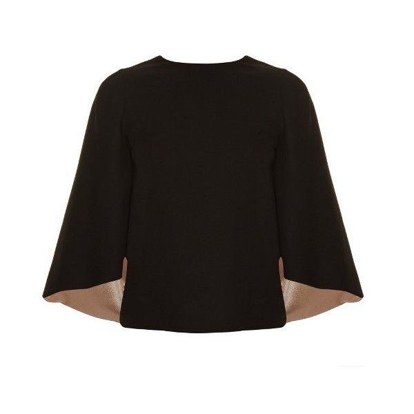 Valentino Cut-out back satin-lined cape top (1,635 CAD) ❤ liked on Polyvore featuring outerwear, black and cape coat