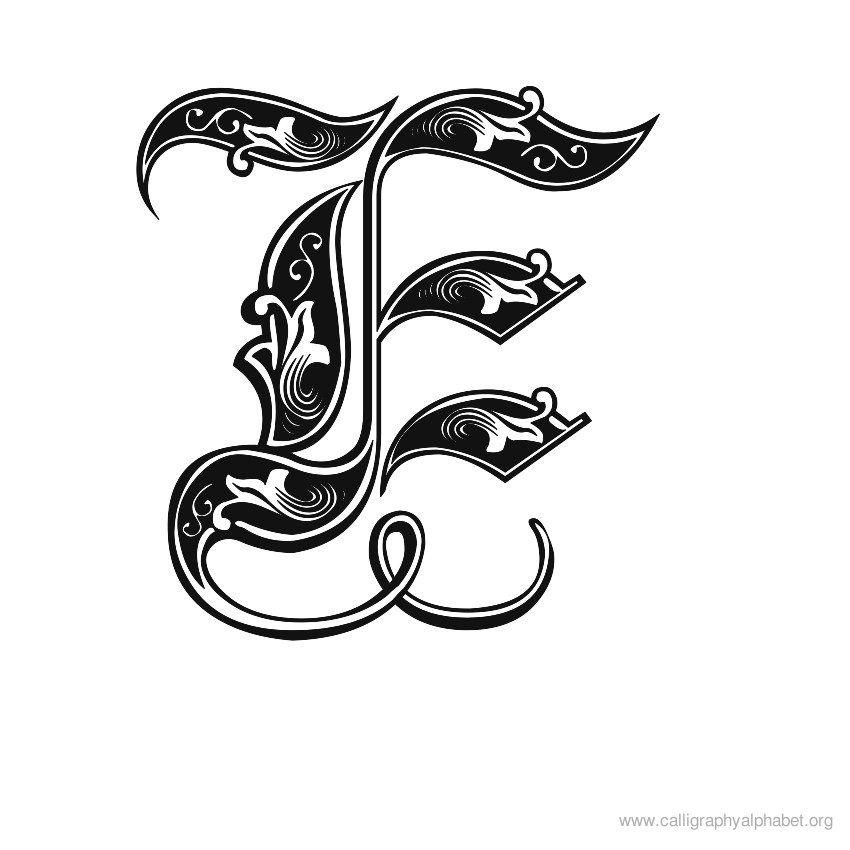 Calligraphy Alphabet Gothic E