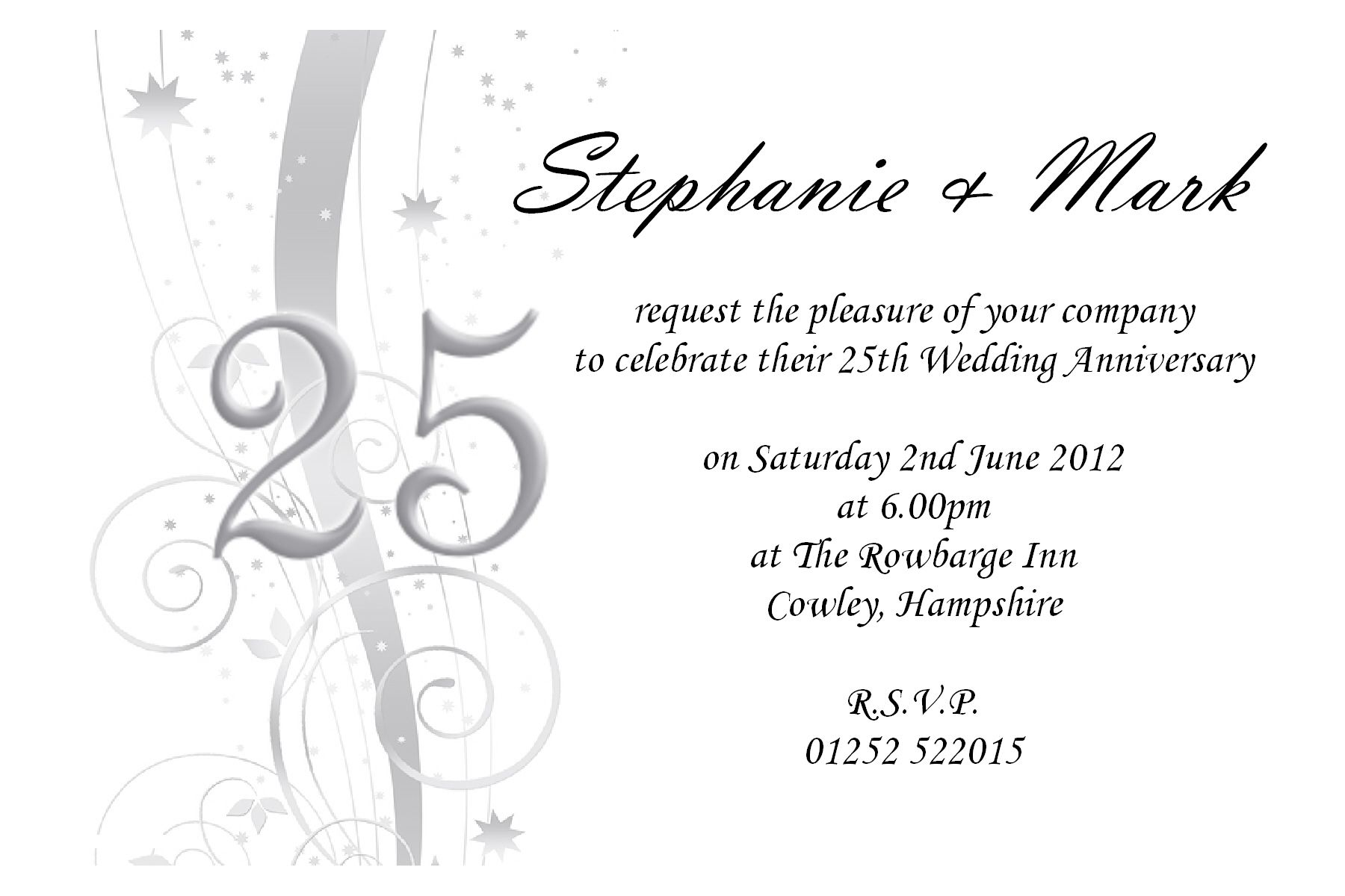 25th Wedding Anniversary Invitations Templates Wpart Co