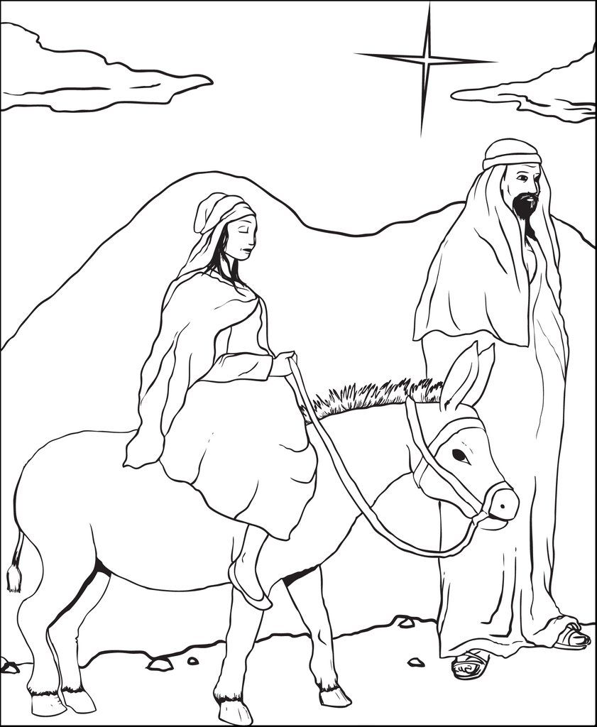 Printable Mary And Joseph Christmas Coloring Page For Kids Jesus