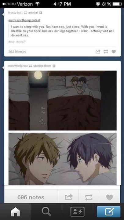 Free! | Makoto x Haru I don't know who made this but thank you who ever you are this is perfect Makoto I want to sleep with you too *-* •-•