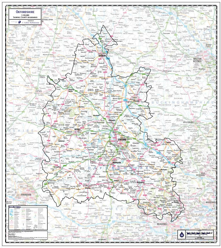 Oxfordshire County Wall Map Oxfordshire Is The 19th Largest County