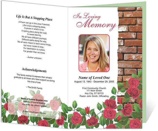 Downloadable Funeral Bulletin Covers Found on funeralprogram - memorial pamphlet template free