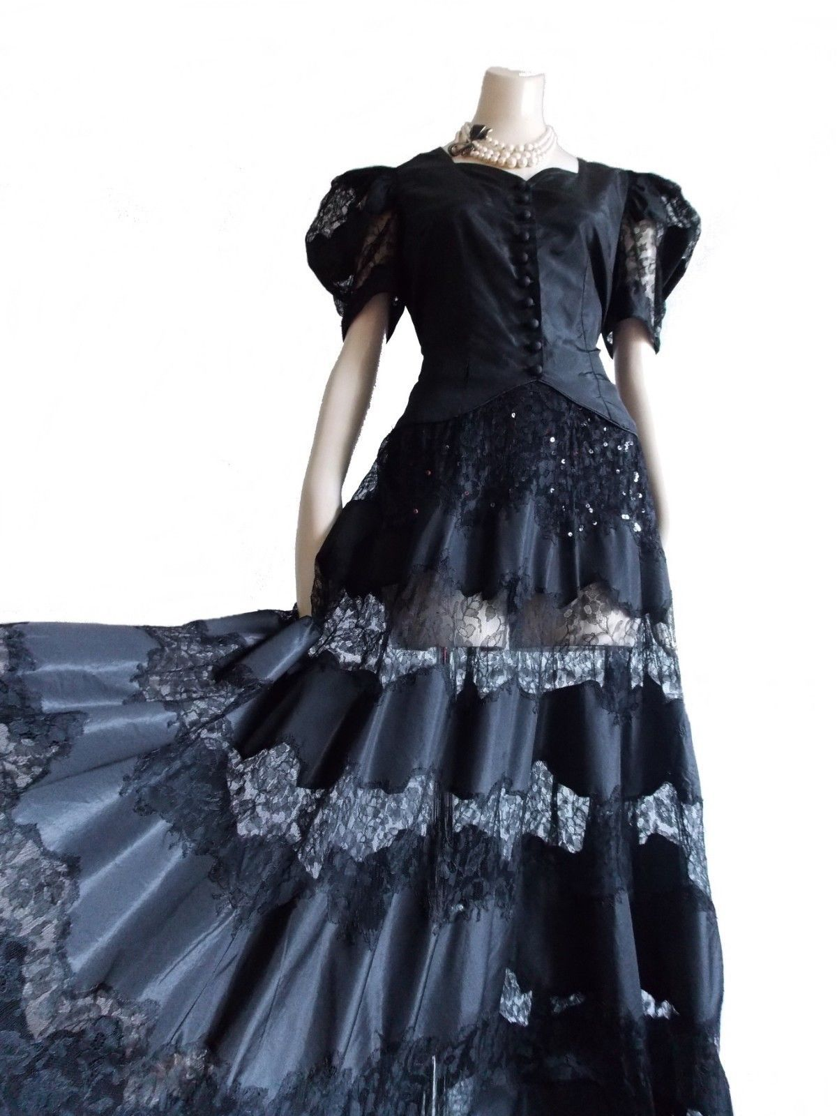 1940s Hollywood Evening Gowns: 1930s 40s Black Sheer Lace Taffeta Evening Dress / 1940s