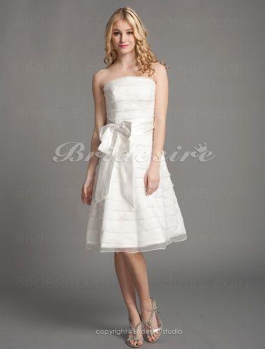 The Green Guide A Line Knee Length Strapless Wedding Dress 167938