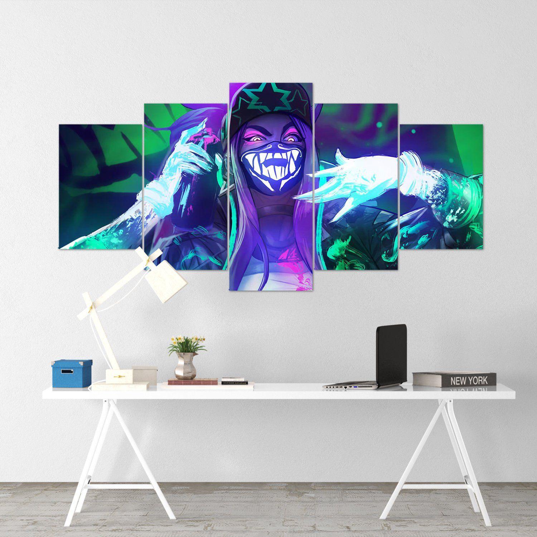 League Of Legends 12 Akali 5 Piece Canvas Wall Art Gaming Canvas Lol Canvas Canvas Wall Art Wall Canvas Wall Art