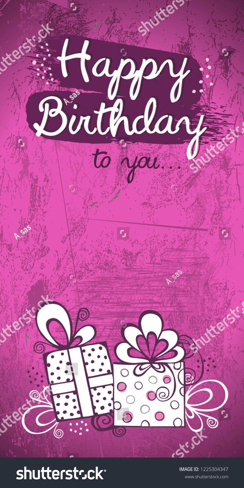 Birthday Invitation Card Greeting Card Vector Design Pink