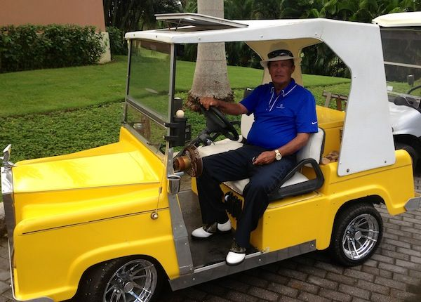 The Fantastic Chi Chi Rodriguez In His Custom Built Mock Rolls Royce Canary Yellow Golf Cart I Love The Fact That It Has A Golf Carts Custom Golf Carts Golf
