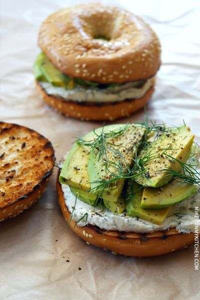 Toasted Bagel With Dill Cream Cheese And Avocado - DontFeedAfterMidnight.co.uk