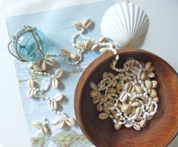 white sea shell garland  shabby chic beach cottage beach wedding by beachcomberhome, $25.00