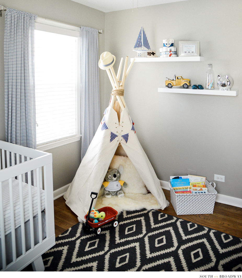 South On Broadway Blog Cohen S Room Reveal Baby Boy Nautical Neutral Nursery Grey White Navy