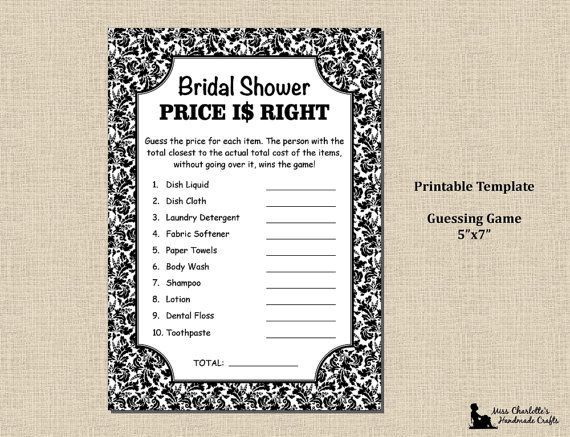 Bridal Shower Shower Price Is Right Game 5x7 Black Damask Etsy Price Is Right Games Bridal Shower Price Is Right Shower Price