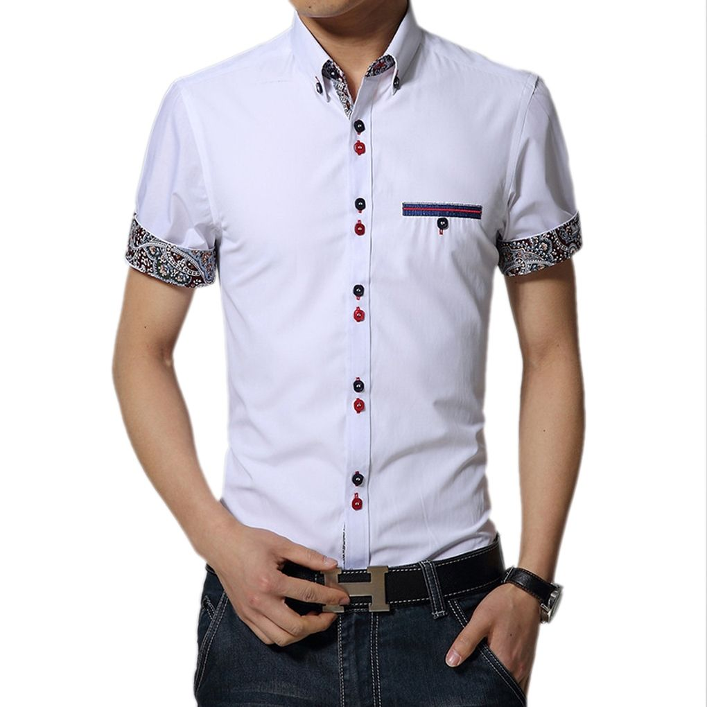 Hot Fashion Selling Summer New Men s Clothing Hot-Selling Short-Sleeve  Shirt Casual Slim Fit Stylish Men s Dress Shirts white c04d9cd5f663