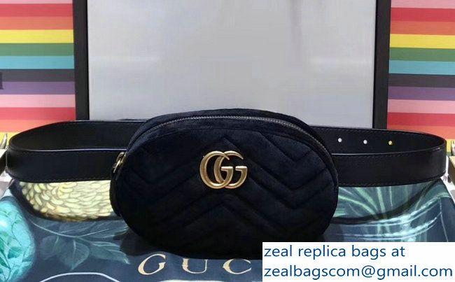 8c37bf50e9c Gucci GG Marmont Matelasse Velvet Belt Bag 476434 Black 2017