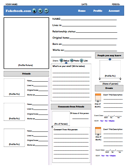 """This """"Fakebook"""" Activity can be used when teaching history, a novel, or any story. CLICK HERE TO DOWNLOAD THE """"FAKEBOOK"""" PDF"""