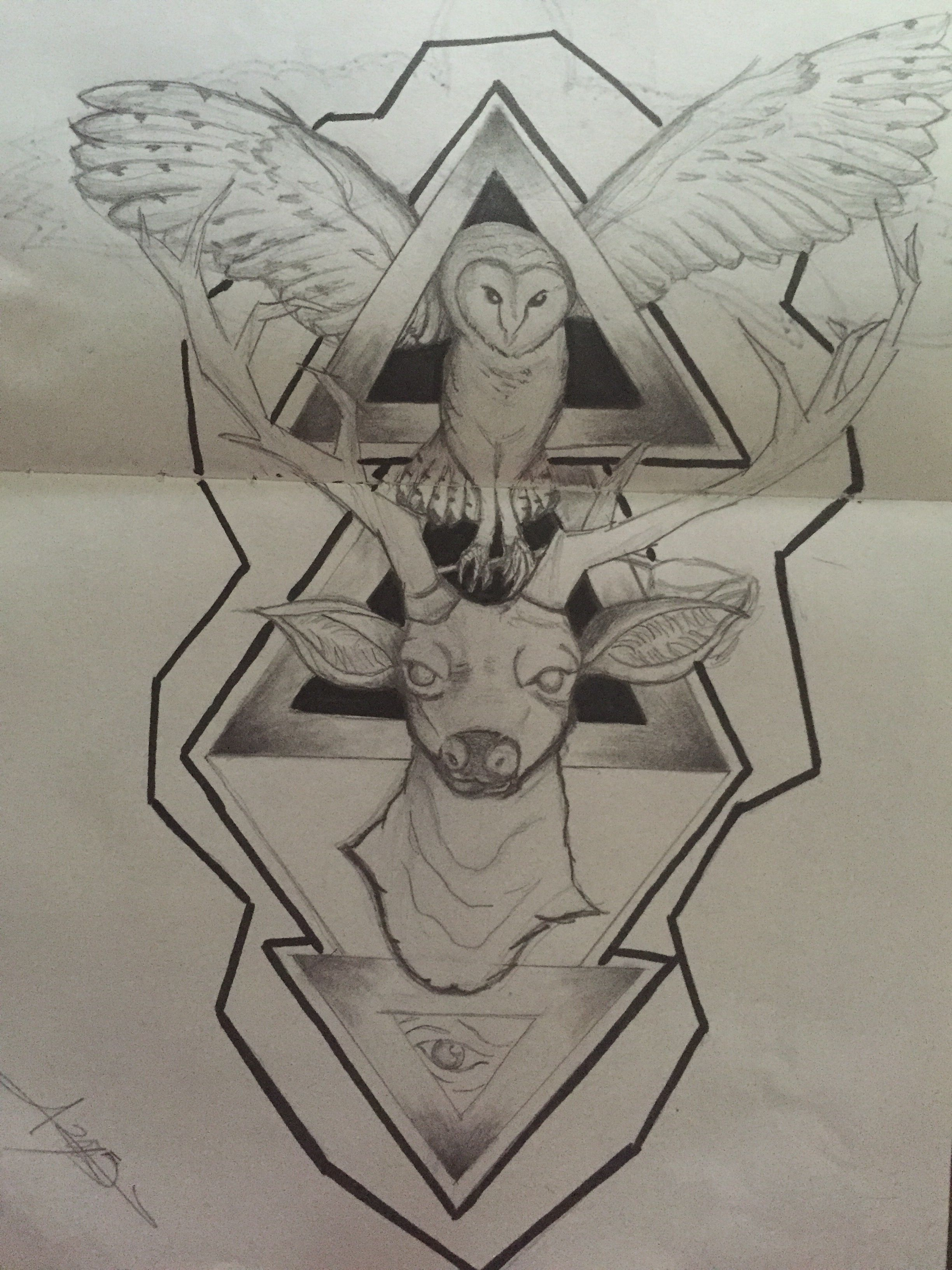 owl deer triangle illuminati moloch tattoo design drawing