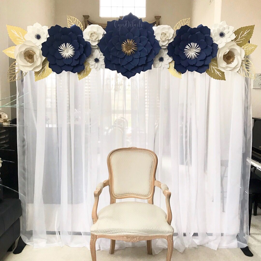Navy Blue White and Gold Paper Flower Backdrop by CynDetails IG