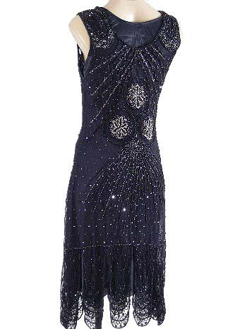 a2ca4e652e4d3 Roaring 20s Reproduction Beaded Black Flapper Dress