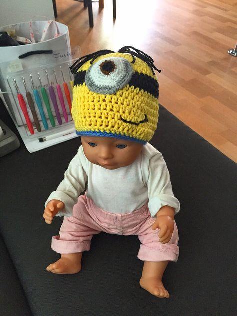 Minion Beanie Babymütze gehäkelt | Häkeln | Pinterest | Babymütze ...