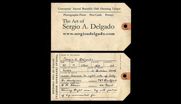 Sergio delgado business card photographer toe tag labels sergio delgados toe tag business card made to promote a show that dealt with the subject of suicide i thought it was funny i thought it was gross colourmoves