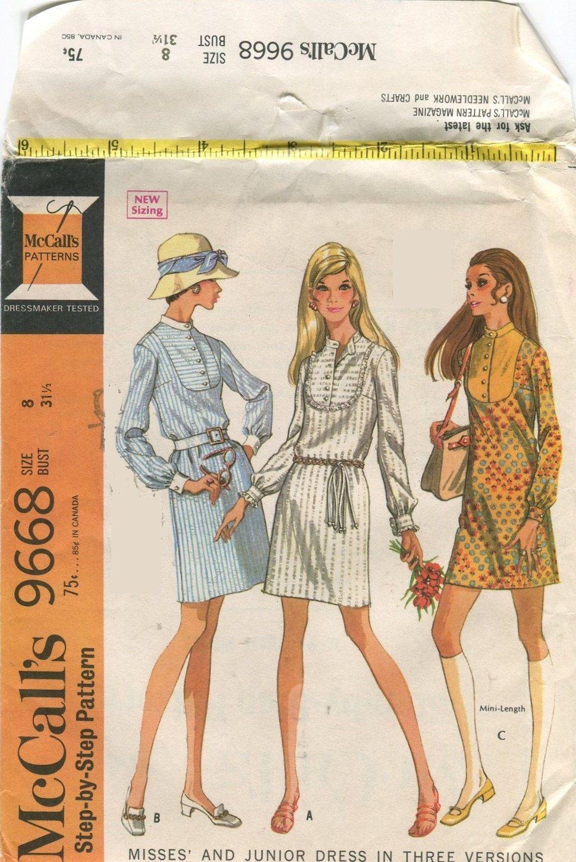 S mccallus long sleeve mini dress vintage sewing pattern