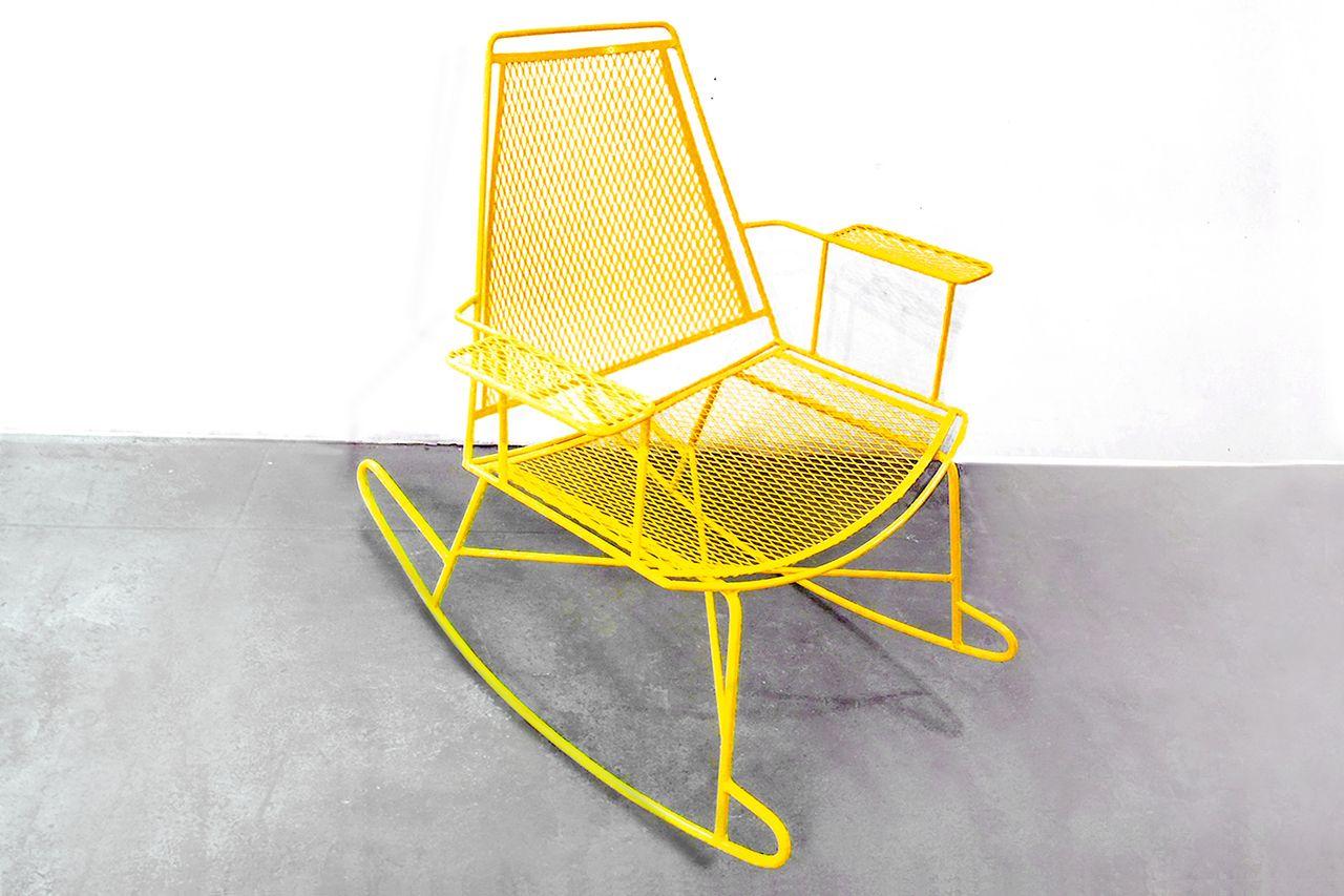 Sold Mid Century Metal Mesh Patio Rocking Chair Metal Chairs Rocking Chair Patio Rocking Chairs