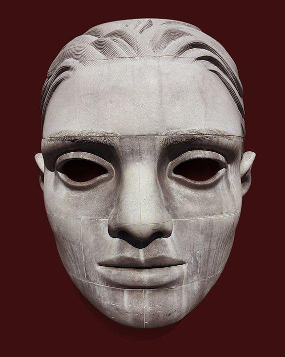 Mask Sculpture, Art Poster, Modern Art, Sculpture Photograph, Hip Wall Art, Giclée Print, Home Decor, Red Wall Art, 8x10