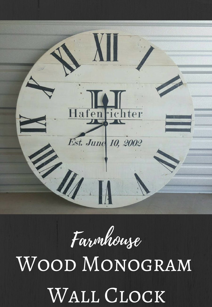 Reclaimed wood wall clock with monogram
