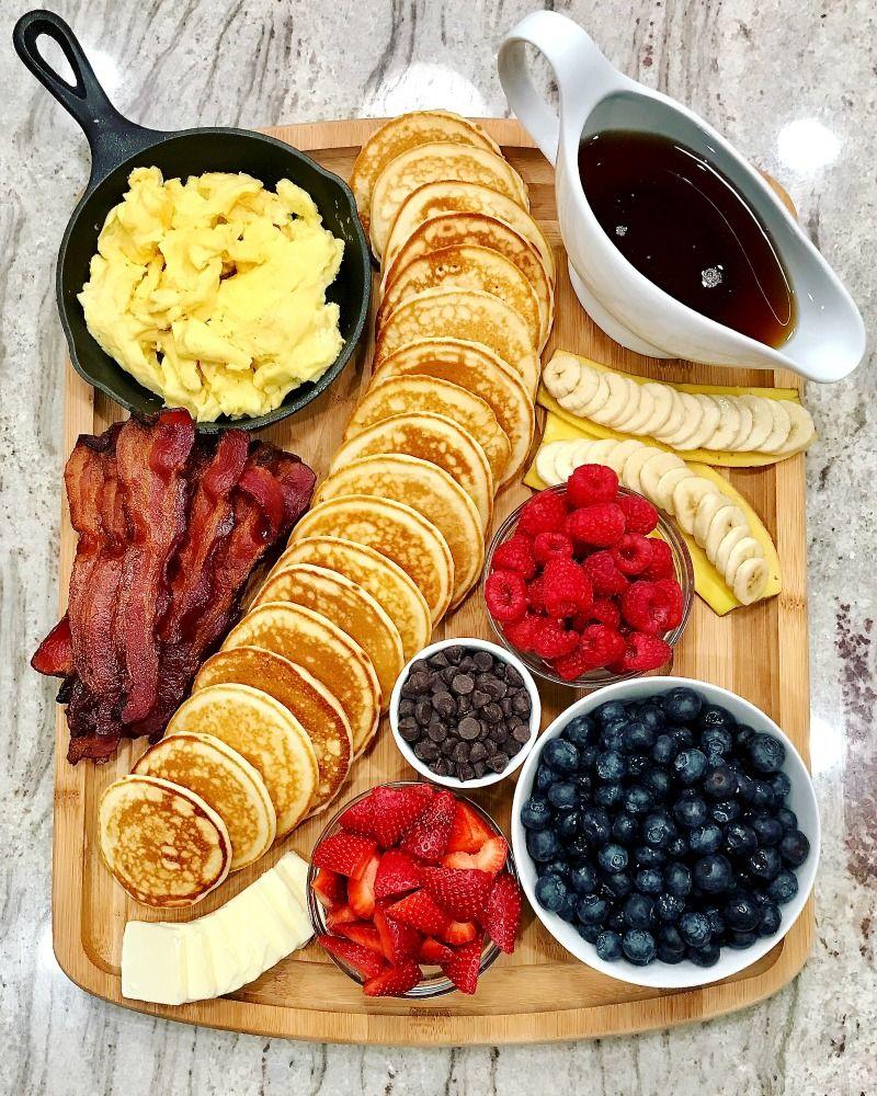Pancake Board - a creative way to serve breakfast, brunch or brinner! #charcuterieboard