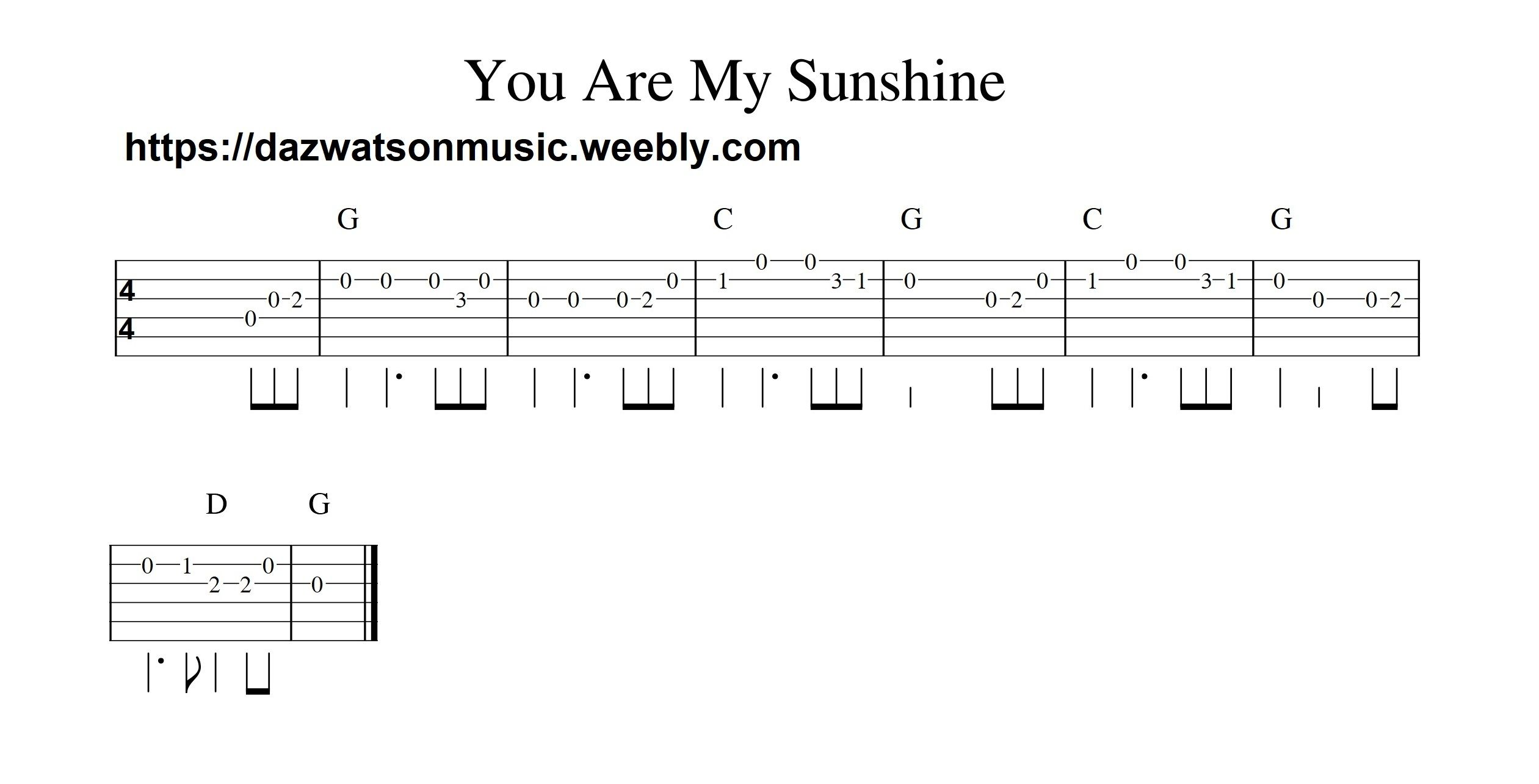 You Are My Sunshine Easy Guitar Tab With Images Guitar Lessons