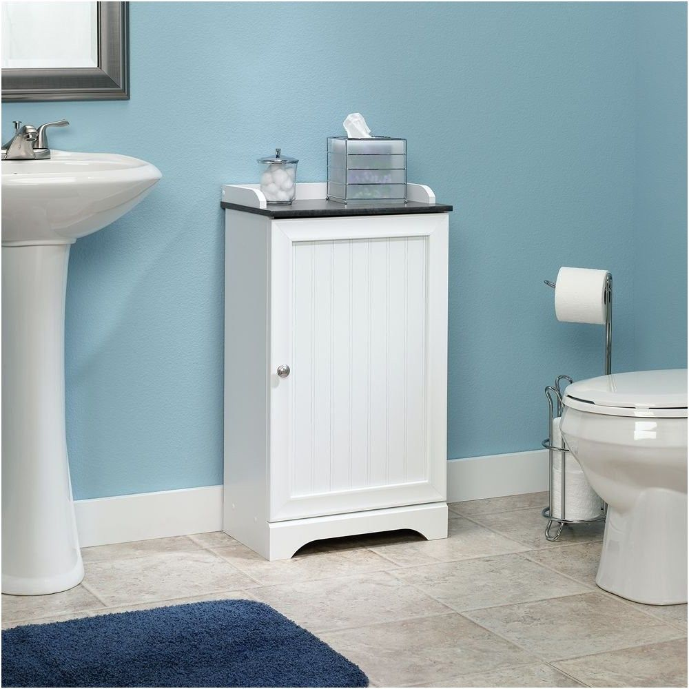 Sauder Caraway Floor Cabinet In Soft White Kitchen From Bathroom