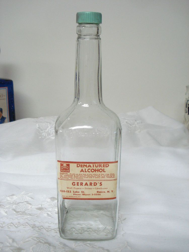 Denatured Alcohol Poison Bottle - Gerard's Elmira NY | Apothecary