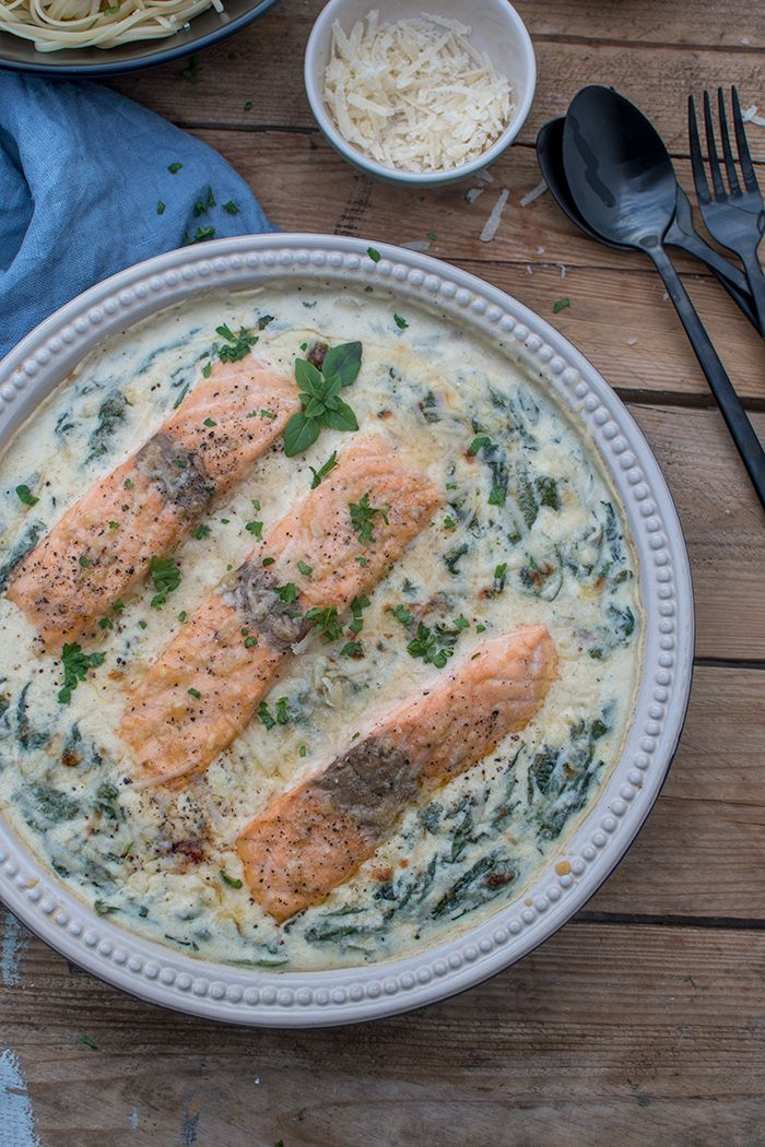 Ofenlachs mit Spinat: Dinnertime ⋆ Knusperstübchen #seafoodstew
