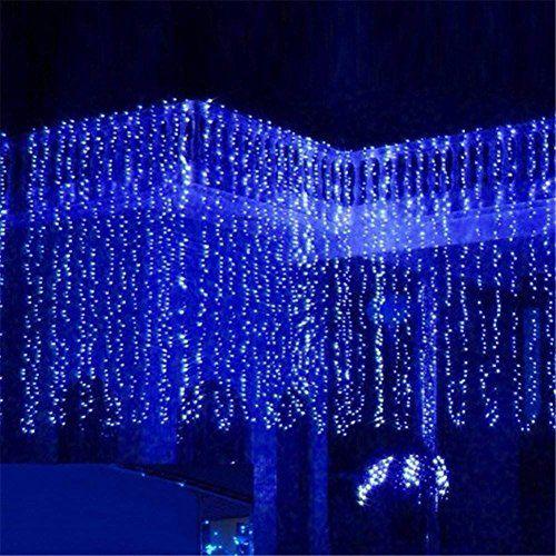 Solmore 4 m x 0 6 m rideau lumineux de no l 120 led lumi re pour int rieur et ext rieur for Rideau lumineux interieur