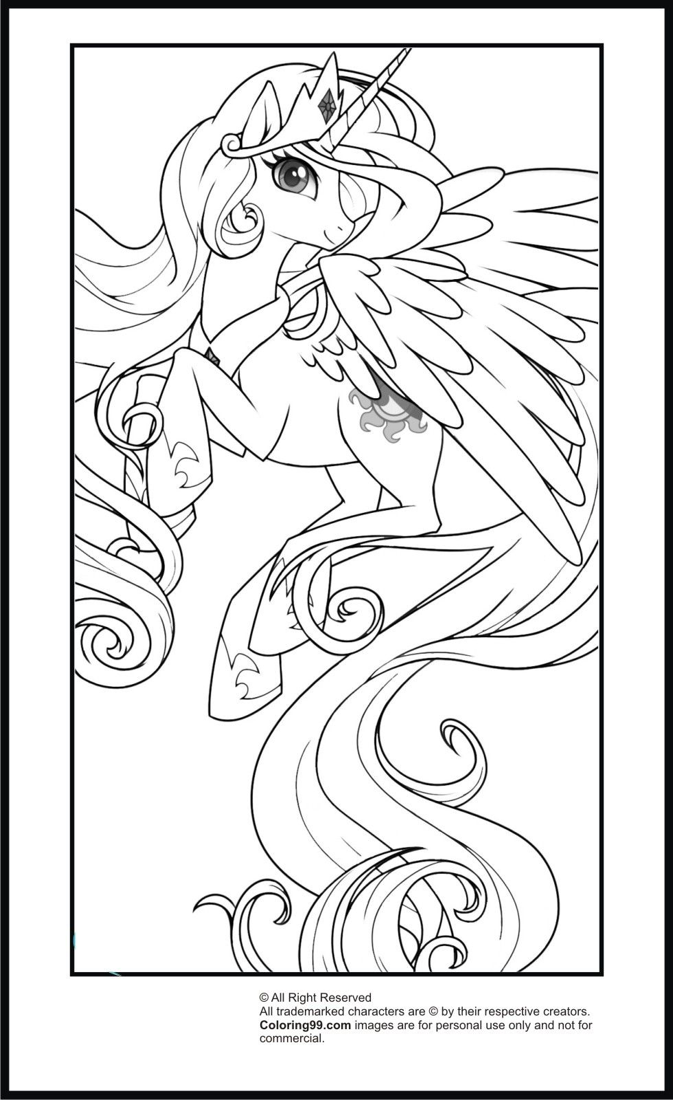 Little princess coloring pages - My Little Pony Princess Celestia Coloring Pages