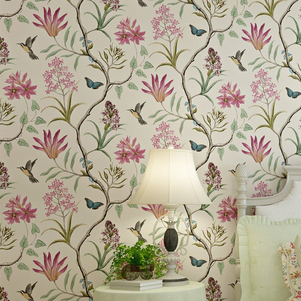 Good Tapete Vliestapete Fototapete Blumen Baum Mit Vgel Vintage Stil Cm  Wandtapete Wandbilder Wandbild Lianle With Tapete Blumen