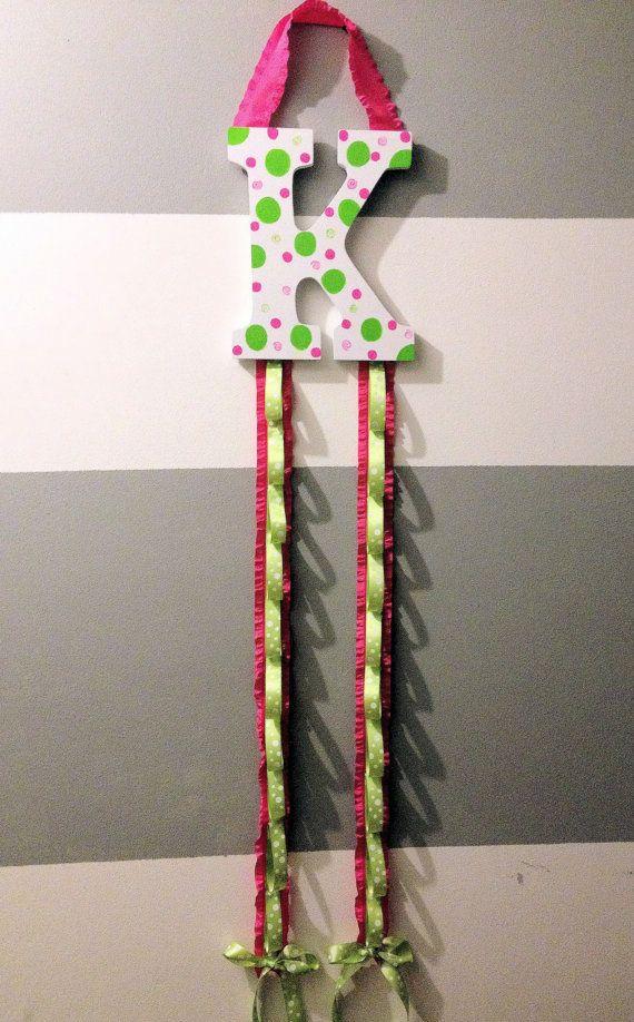 Initial Ribbon Headband Organizer by RuffledCouture on Etsy, $27.95